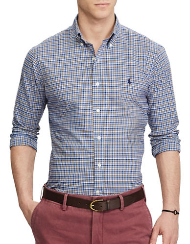Polo Ralph Lauren Standard Fit Plaid Sport Shirt-BLUE-Small