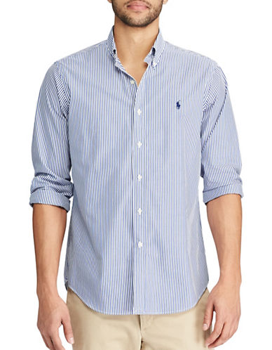 Polo Ralph Lauren Standard-Fit Striped Cotton Shirt-BLUE-Small