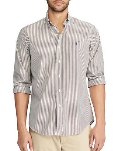 Polo Ralph Lauren Standard-Fit Striped Cotton Shirt-BROWN-Large