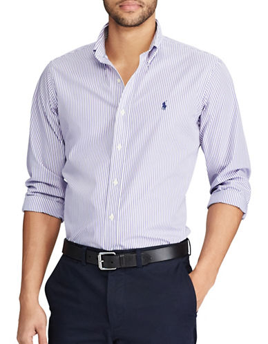 Polo Ralph Lauren Standard-Fit Striped Cotton Shirt-PURPLE-Medium