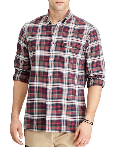 Polo Ralph Lauren The Iconic Plaid Oxford Cotton Casual Button-Down Shirt-RED-Medium