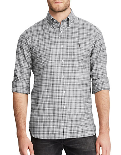 Polo Ralph Lauren Twill-Hab Standard-Fit Cotton Casual Button-Down Shirt-GREY-Small