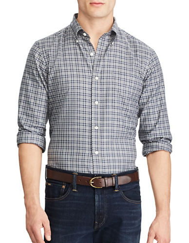 Polo Ralph Lauren Standard-Fit Plaid Cotton Shirt-GREY-Large