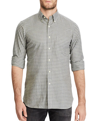 Polo Ralph Lauren Plaid Cotton Casual Button-Down Shirt-GREY-Small