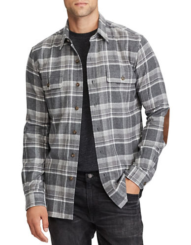 Polo Ralph Lauren Standard-Fit Flannel Cotton Workshirt-GREY-X-Large