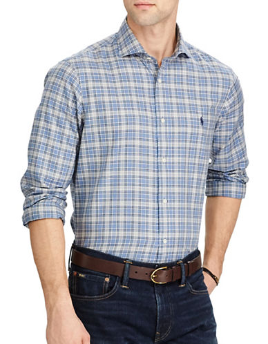 Polo Ralph Lauren Standard-Fit Plaid Twill Cotton Casual Button-Down Shirt-BLUE-Small