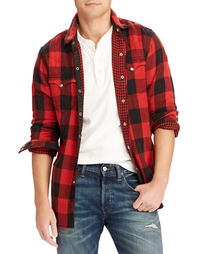 Polo Ralph Lauren The Iconic Flannel Cotton Sport Shirt-RED-X-Large