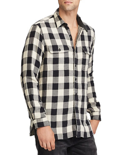 Polo Ralph Lauren The Iconic Flannel Cotton Casual Button-Down Shirt-BLACK-X-Large