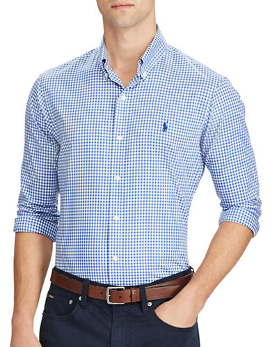 Polo Ralph Lauren Slim-Fit Cotton Casual Button-Down Shirt-BLUE-Large