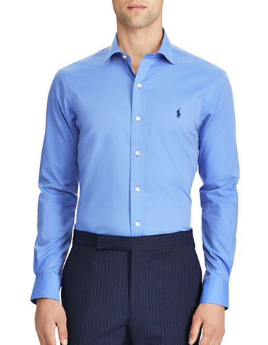 Polo Ralph Lauren Slim-Fit No-Iron Poplin Cotton Dress Shirt-BLUE-Large