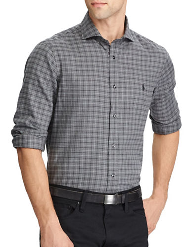 Polo Ralph Lauren Herringbone Standard-Fit Cotton Casual Button-Down Shirt-GREY-Large