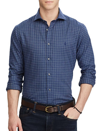 Polo Ralph Lauren Standard-Fit Plaid Herringbone Shirt-BLUE-Small