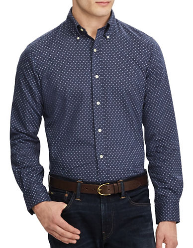 Polo Ralph Lauren Standard-Fit Cotton Casual Button-Down Shirt-NAVY-XX-Large