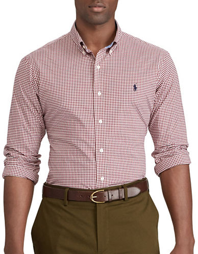 Polo Ralph Lauren Big and Tall Classic-Fit Gingham Cotton Shirt-BURGUNDY-1X Big