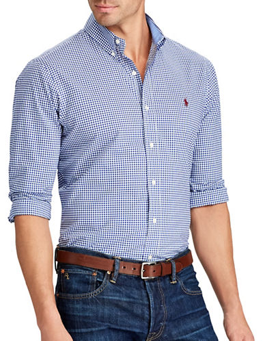 Polo Ralph Lauren Big and Tall Classic-Fit Gingham Cotton Shirt-BLUE-1X Big