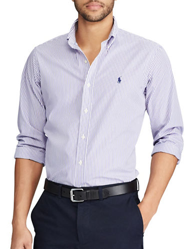 Polo Ralph Lauren Classic Fit Striped Cotton Casual Button-Down Shirt-PURPLE-3X Tall