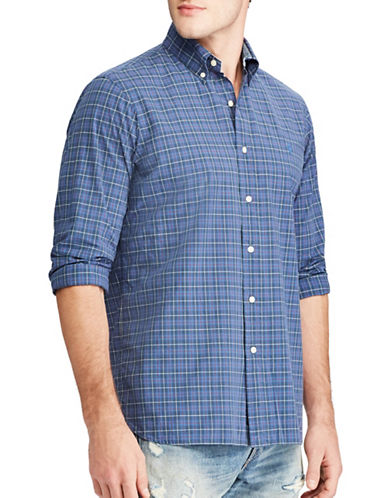 Polo Ralph Lauren Classic Fit Plaid Print Cotton Casual Button-Down Shirt-BLUE-5X Big