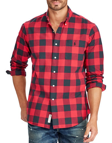 Polo Ralph Lauren Big and Tall Plaid Sport Shirt-RED-5X Tall