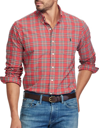 Polo Ralph Lauren Big and Tall Plaid Sport Shirt-RED-Large Tall