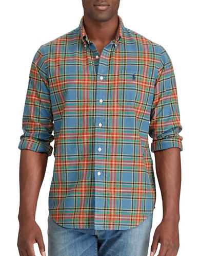Polo Ralph Lauren The Iconic Plaid Oxford Shirt-BLUE-Large Tall