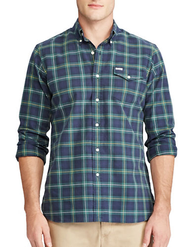 Polo Ralph Lauren Big and Tall Plaid Sport Shirt-GREEN-2X Big