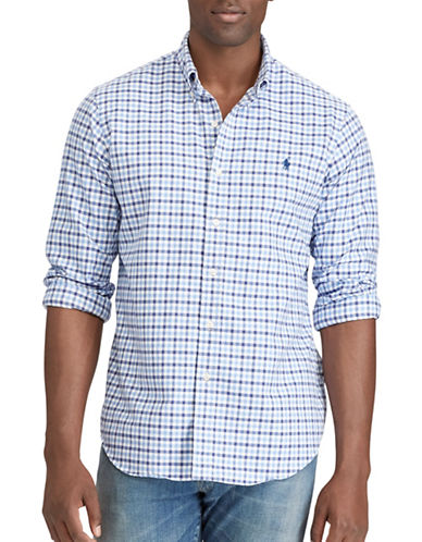Polo Ralph Lauren Big and Tall Classic-Fit Checked Oxford Shirt-BLUE-4X Tall
