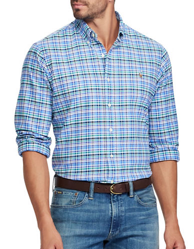 Polo Ralph Lauren Classic Fit Plaid Cotton Oxford Shirt-BLUE-1X Tall