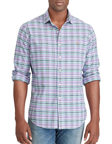Polo Ralph Lauren Big and Tall Classic-Fit Plaid Oxford Shirt-BLUE-3X Tall