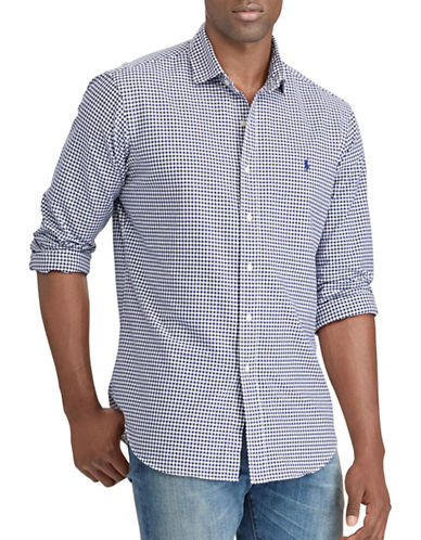 Polo Ralph Lauren Big and Tall Classic-Fit Gingham Oxford Shirt-NAVY-5X Tall