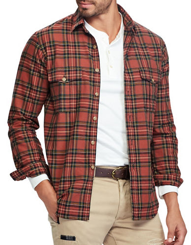 Polo Ralph Lauren Big and Tall Classic Fit Plaid Oxford Workshirt-RED-Large Tall