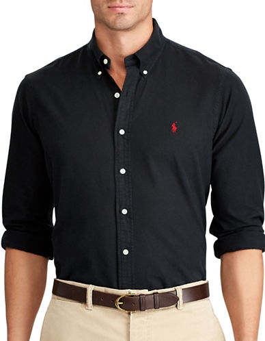 Polo Ralph Lauren Big and Tall Oxford Classic Fit Sport Shirt-BLACK-5X Big