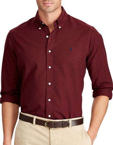 Polo Ralph Lauren Big and Tall Oxford Classic Fit Sport Shirt-RED-5X Tall