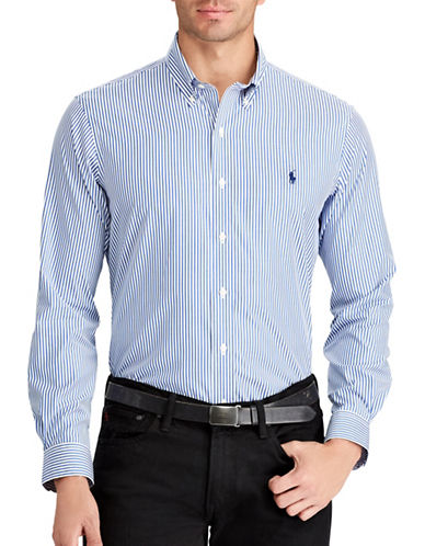 Polo Ralph Lauren Big and Tall Classic Fit Striped Cotton Shirt-BLUE-1X Tall