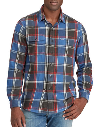 Polo Ralph Lauren Big and Tall Plaid Twill Sport Shirt-BLUE-2X Big
