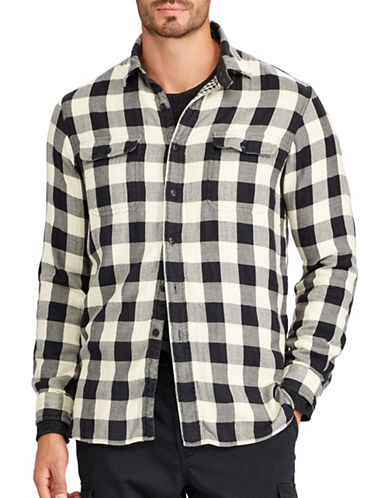 Polo Ralph Lauren Big and Tall Flannel Sport Shirt-BLACK-3X Big