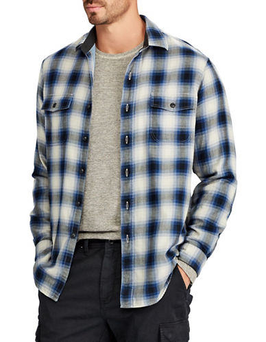 Polo Ralph Lauren Big and Tall Flannel Sport Shirt-BLUE-1X Big