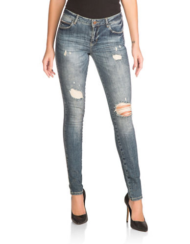 Guess Skinny Distressed Jeans-BLUE-25