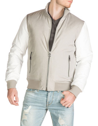 Guess Melange Bomber Jacket-WHITE-Large 88948424_WHITE_Large