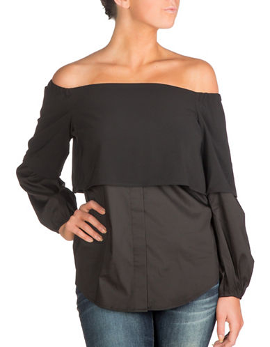 Guess Annalisa Off-the-Shoulder Top-BLACK-X-Small 88955529_BLACK_X-Small