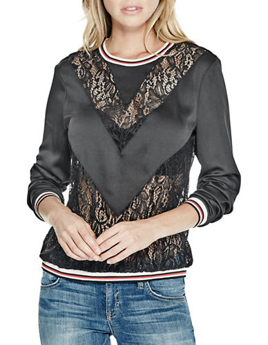 Guess Neveah Lace Mix Pullover-BLACK-Small 88874970_BLACK_Small