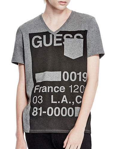 Guess Stencil V-Neck Tee-GREY-Medium 88782728_GREY_Medium