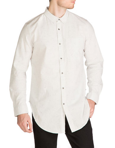 Guess Longline Fleck Shirt-WHITE-Medium