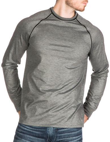 Guess Mason Faux-Leather Trim T-Shirt-GREY-Medium 88782866_GREY_Medium