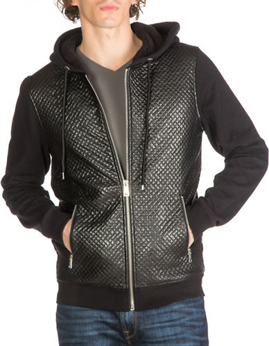 Guess Roy Chevron Quilted Hoodie-BLACK-Medium 88782886_BLACK_Medium