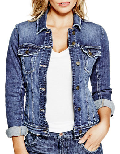 Guess Classic Stretch-Woven Denim Jacket-DARK WASH-Large