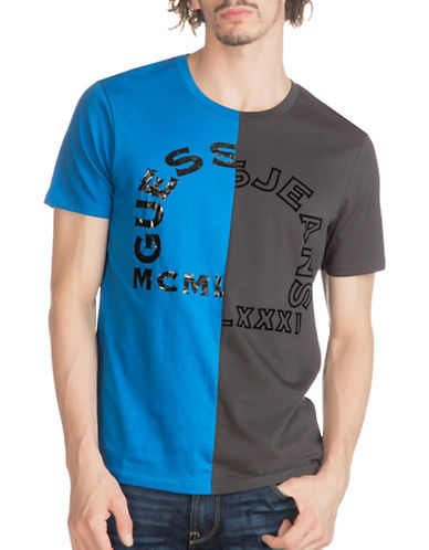 Guess Split Crew T-Shirt-BLUE-Medium 88875062_BLUE_Medium