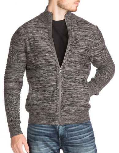 Guess Dawson Full Zip Mock Neck Sweater-GREY-Small 88782905_GREY_Small