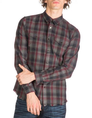 Guess Rosewood Plaid Shirt-GREY-Medium