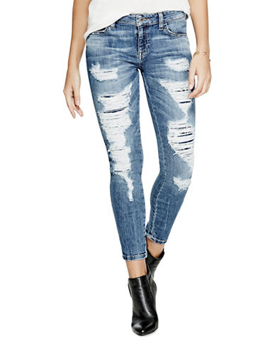 Guess Mid-Rise Ankle Skinny Jeans-LIGHT MEDIUM-26