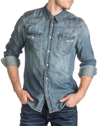 Guess Originals Western Denim Shirt-BLUE-Medium